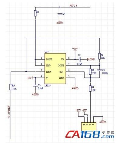电流传感器输出的信号通过运放lf353电路的衰减和
