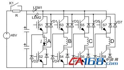 四相不对称半桥式功率变换器供电