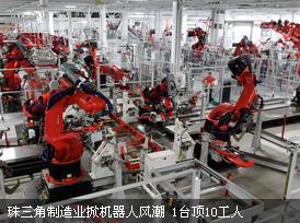 珠三角制造业掀机器人风潮 1台顶10工人