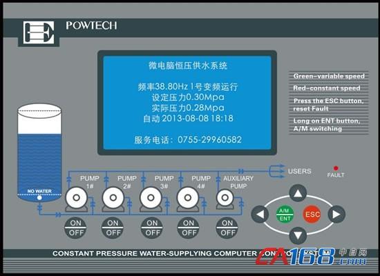 欧科传动微电脑恒压供水控制器高亮大液晶显示屏,多行参数显示,设定一目了然。可手动、自动控制任何一台泵,最大控制范围4大泵1小泵。定时换泵功能,科学分配泵运行时间,提高水泵使用寿命。开关量输出全部为继电器输出,可直接驱动接触器。适应性强,可以国内外各种压力传感器和变频器匹配。采用模糊控制原理,自动优化参数,操作简单方便。