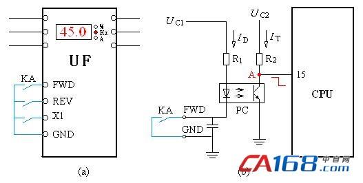 因为电流信号的上限值是20mA,所以,只要让电流信号通过250Ω电阻。就可以把0~20mA的电流信号转换成0~5V的电压信号了,其上限电压便是CPU能够接受的5V了。在图9-13中,运算放大器A接成电压跟随电路,用来作为功率放大。