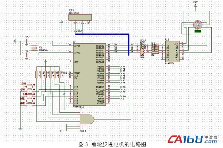 (1)前轮控制电机转向的步进电机的电路设计 前轮电机用uln2003a(24.