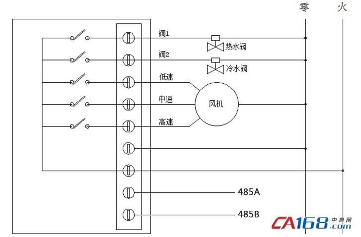 485聯網型房間溫控器接線圖(四管制)