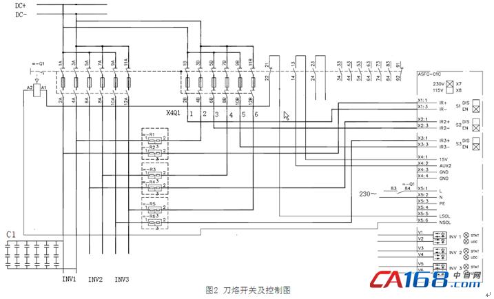 直流电通过辅助开关接入,对18个并联电解电容充电,每个充电回路中接入